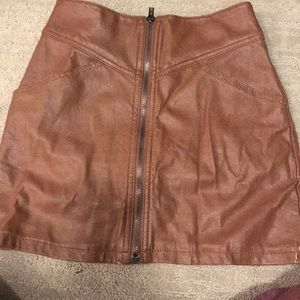 Dresses & Skirts - Faux leather camel brown mini skirt